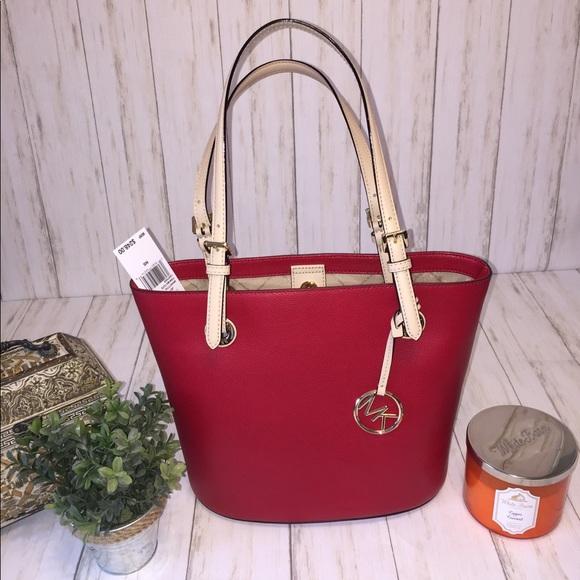 26c5ab78cdd4 Michael Kors Bags | Jet Set Tote Red Chili Leather | Poshmark